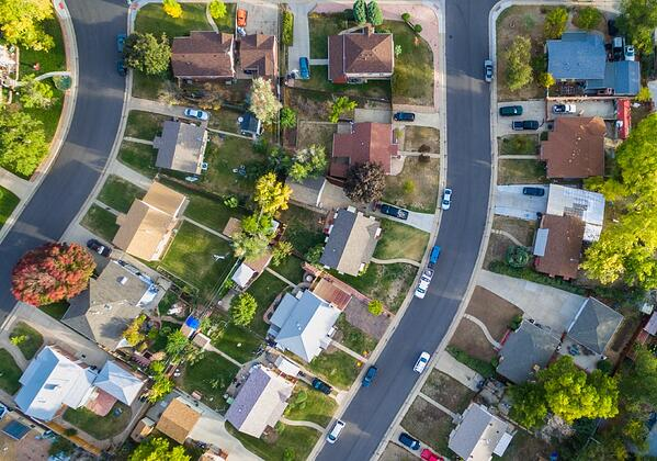 A neighborhood seen from above that may contain an adult family home