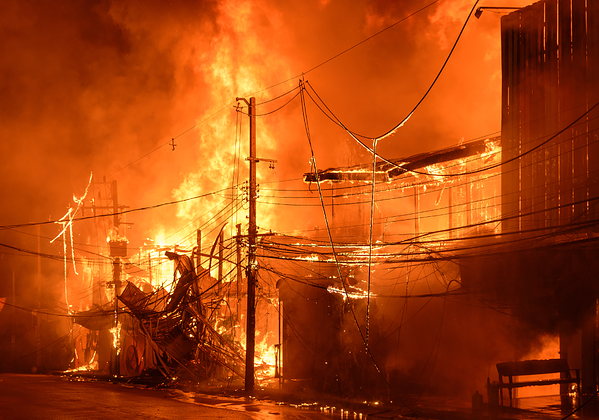 Multiple commercial buildings on fire
