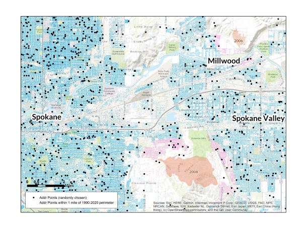 A map of wildfire risk in Spokane, WA