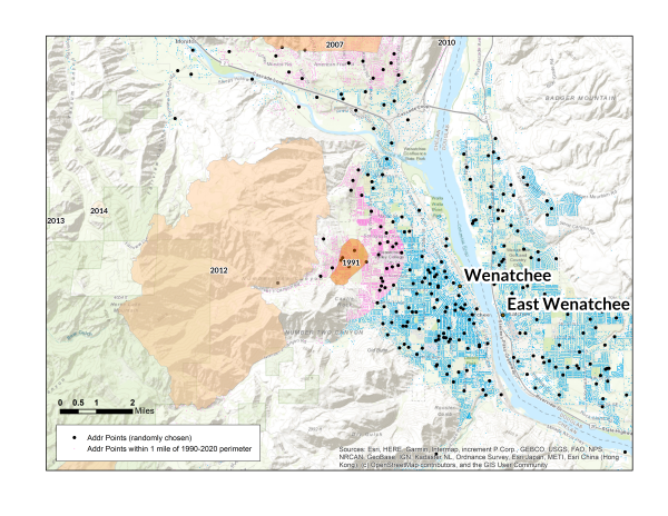Map of wildfire risk in Wenatchee, WA