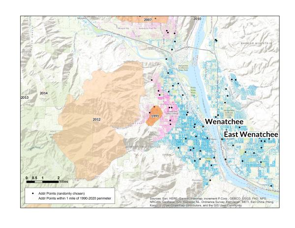 Map of Wenatchee, WA wildfire risk